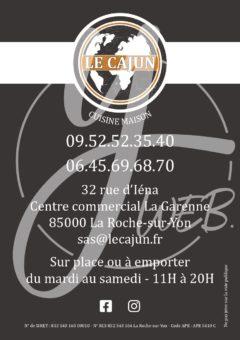 Le Cajun flyer menu recto