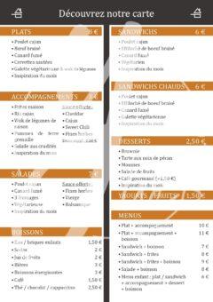 Le Cajun flyer menu verso